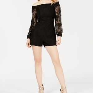 Guess Black Off Shoulder Montrese Romper NWT